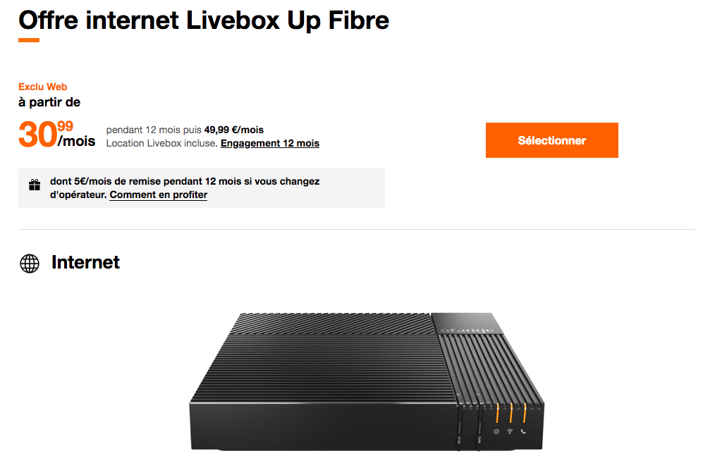 L'abonement Livebox Up Fibre