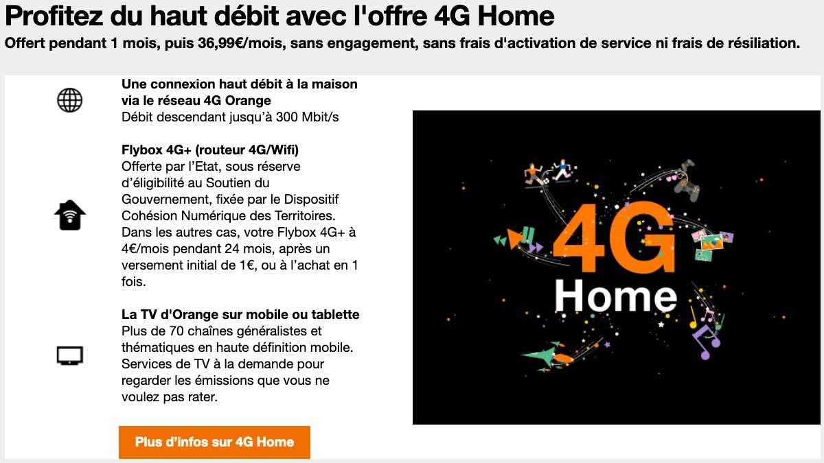 4G Home solution fixe très haut débit.