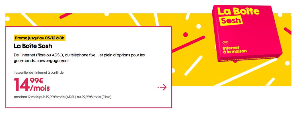 box internet sans engagement de Sosh