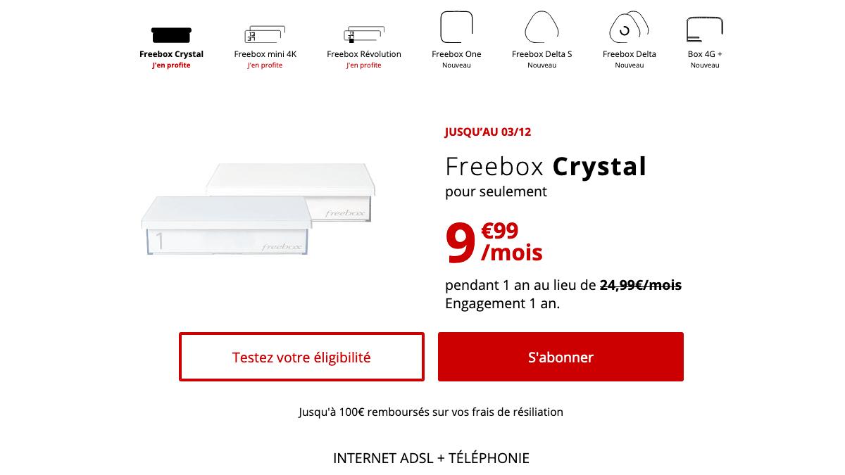 Promo Freebox Crystal ADSL.