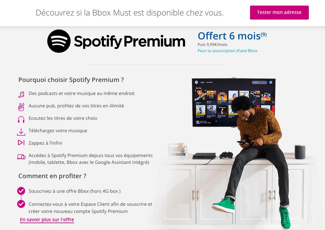 abonnement box internet pas cher avec spotify