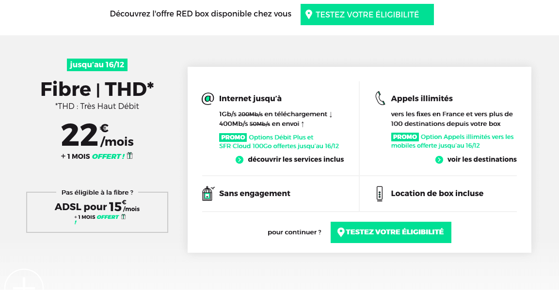 la box internet en promotion de RED by SFR
