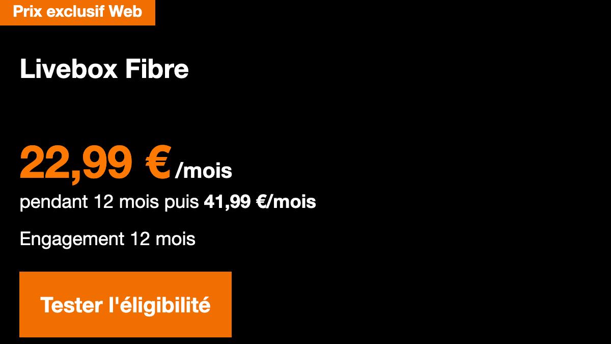 Promotion sur la Livebox Fibre d'Orange.