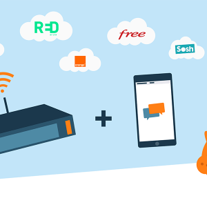 Box internet et téléphone portable.