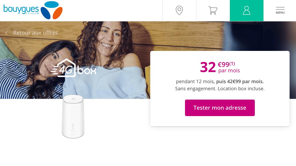 Box 4G pas chère chez Bouygues telecom.