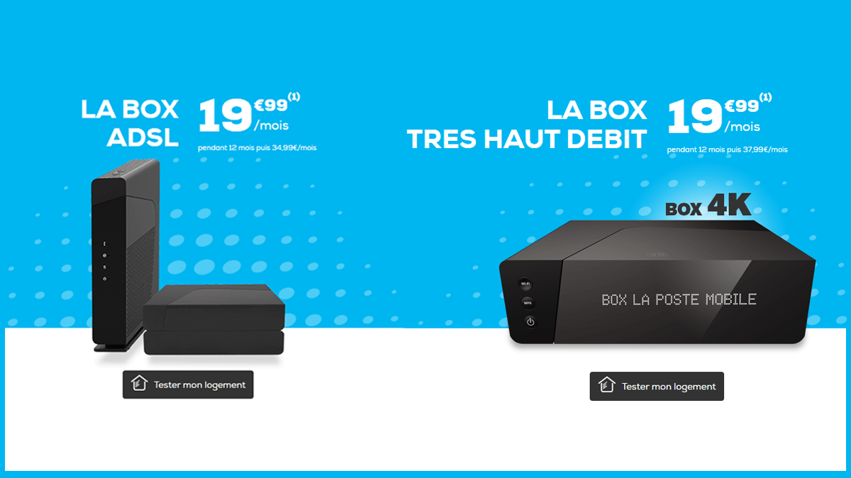 Les box ADSL et THD sont désormais proposées à 19,99€/mois par La Poste Mobile