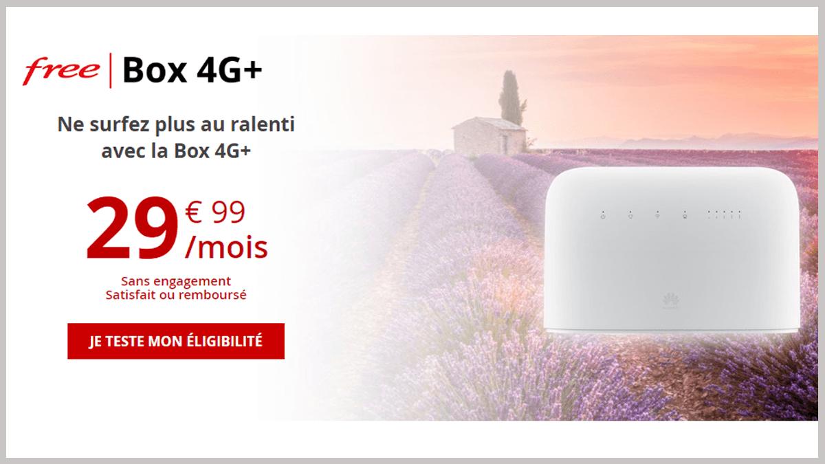 La Box 4G+ de Free, basée sur le réseau Free mobile, permet aux utilisateurs n'ayant ni fibre optique ni bonne connexion ADSL d'avoir Internet.
