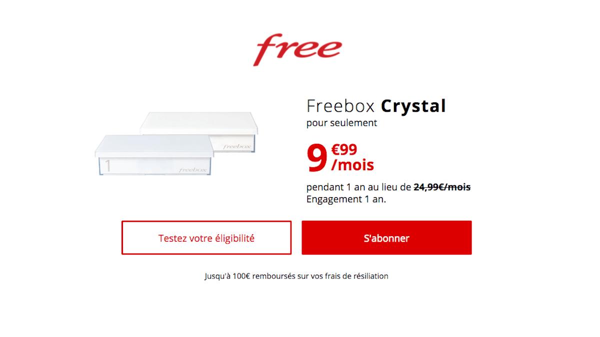 Free vend sa Freebox Crystal pour 9,99€/mois.