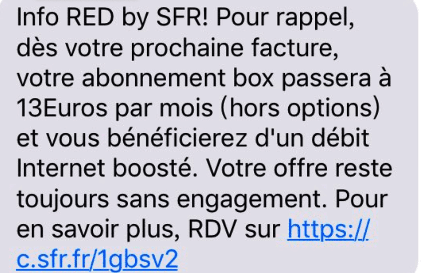 RED by SFR a envoyé un message pour prévenir ses abonnés de cette augmentation
