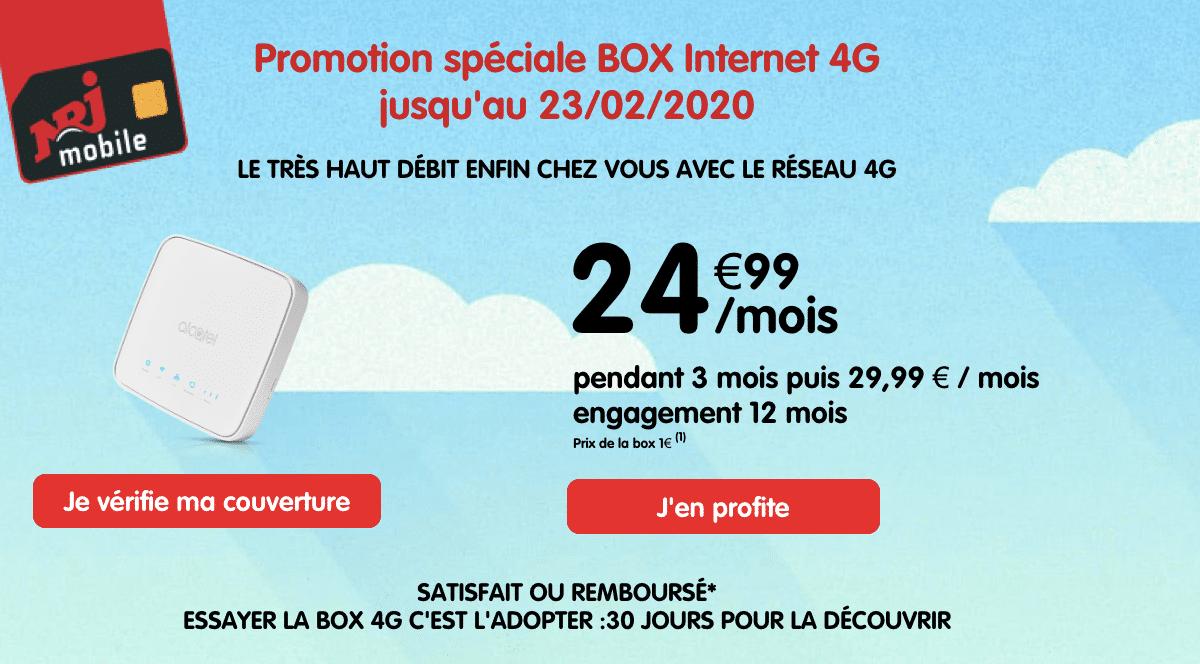 NRJ Mobile fait une promtion sur sa box internet 4G