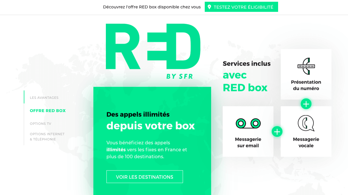 La RED Box couvre les appels liés à la téléphonie fixe.