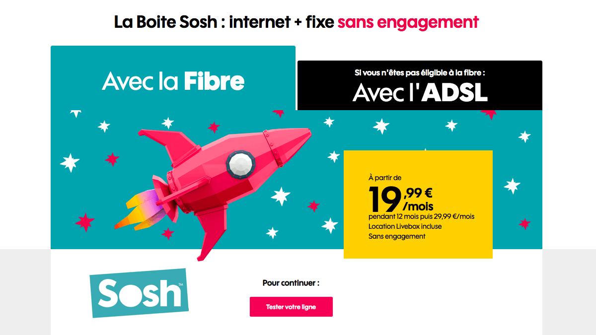 Sosh fait une promo sur sa box internet sans engagement.