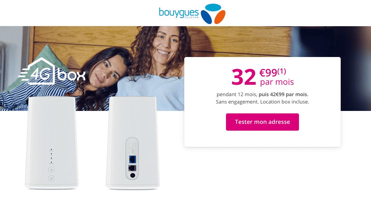 Bouygues Telecom réalise une promo sur sa box internet 4G.