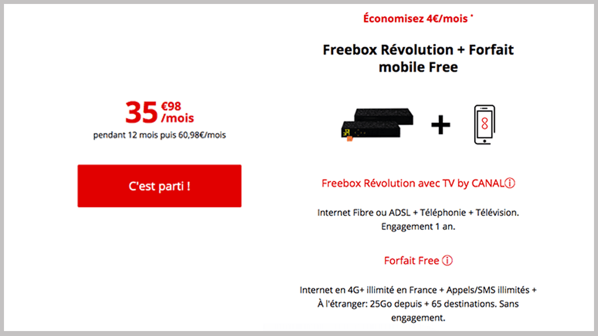 Freebox Révolution avec forfait 25 Go.