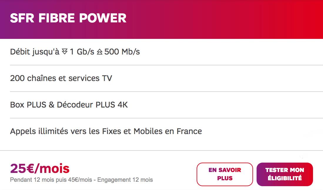 La box Power Fibre de SFR