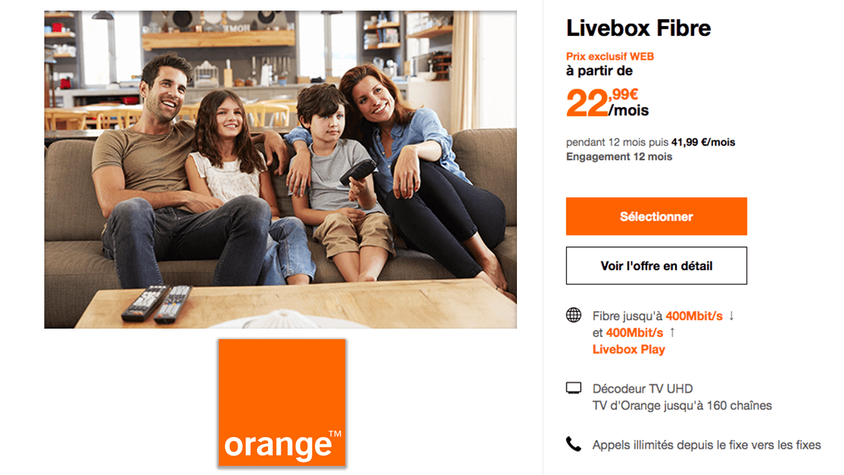 Livebox Fibre d'Orange en promo.