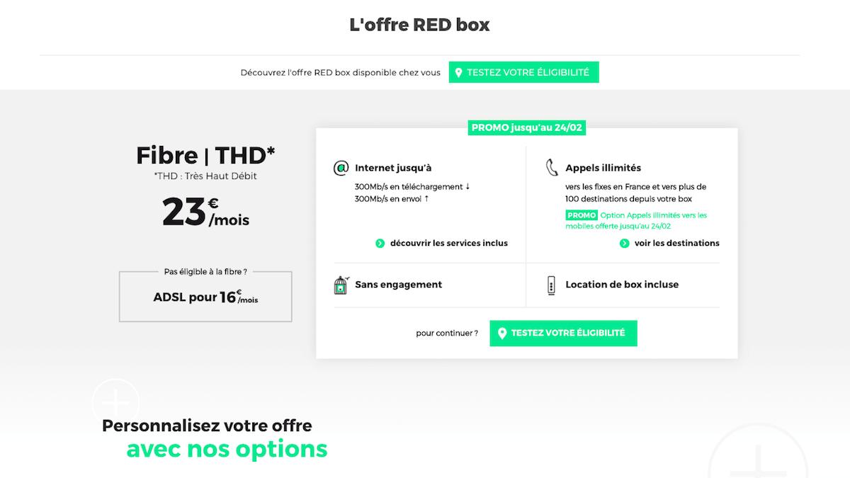 RED by SFR vend sa box internet sans engagement en promo.
