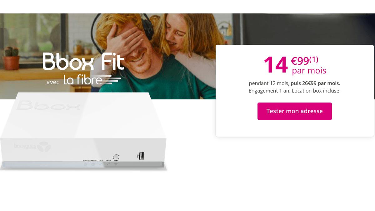 Un forfait box internet selon Bouygues, c'est la fibre à 14,99€ par mois.