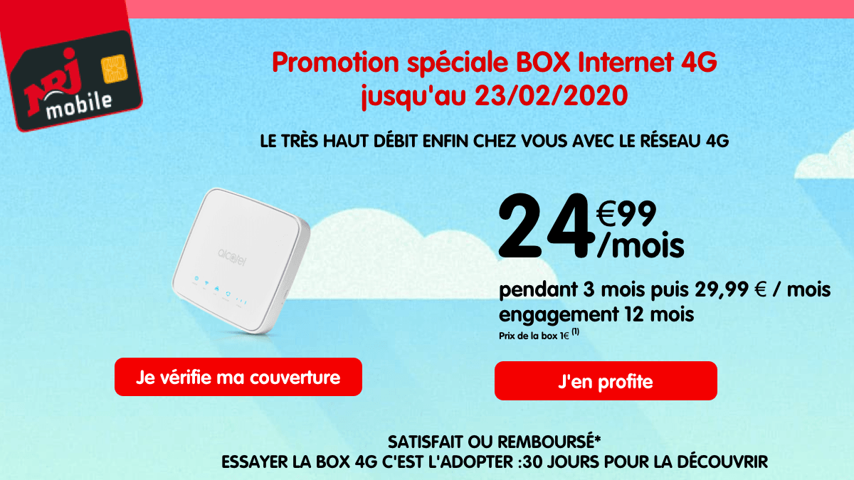 NRJ mobile met sa box internet 4G en promo