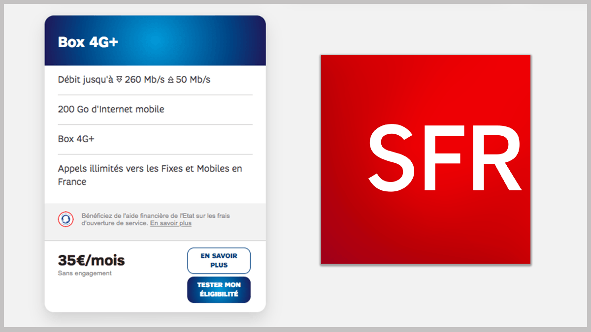 35€/mois pour la box 4G SFR avec téléphonie.