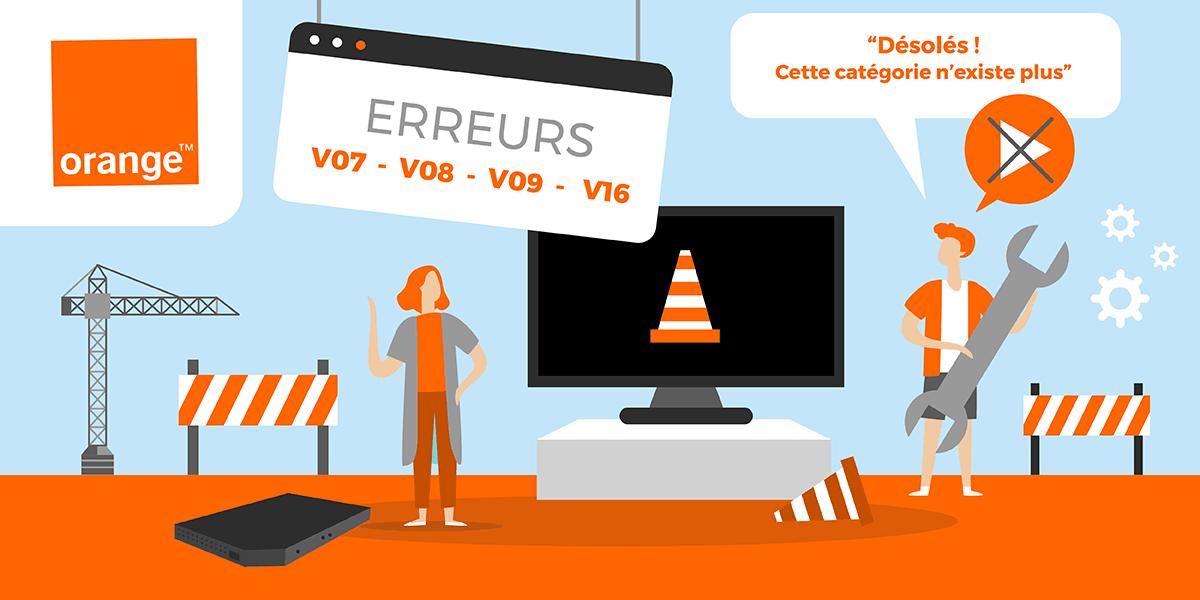 Box TV Orange : codes erreur V07 V08 V09 et V16