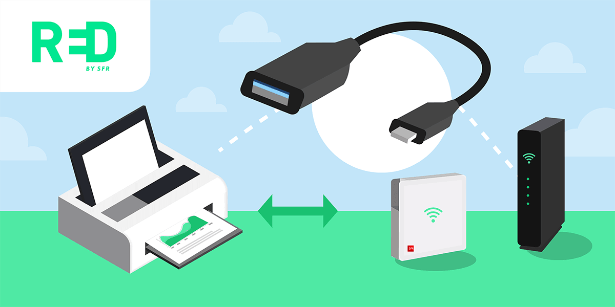 Connexion USB imprimante RED box.