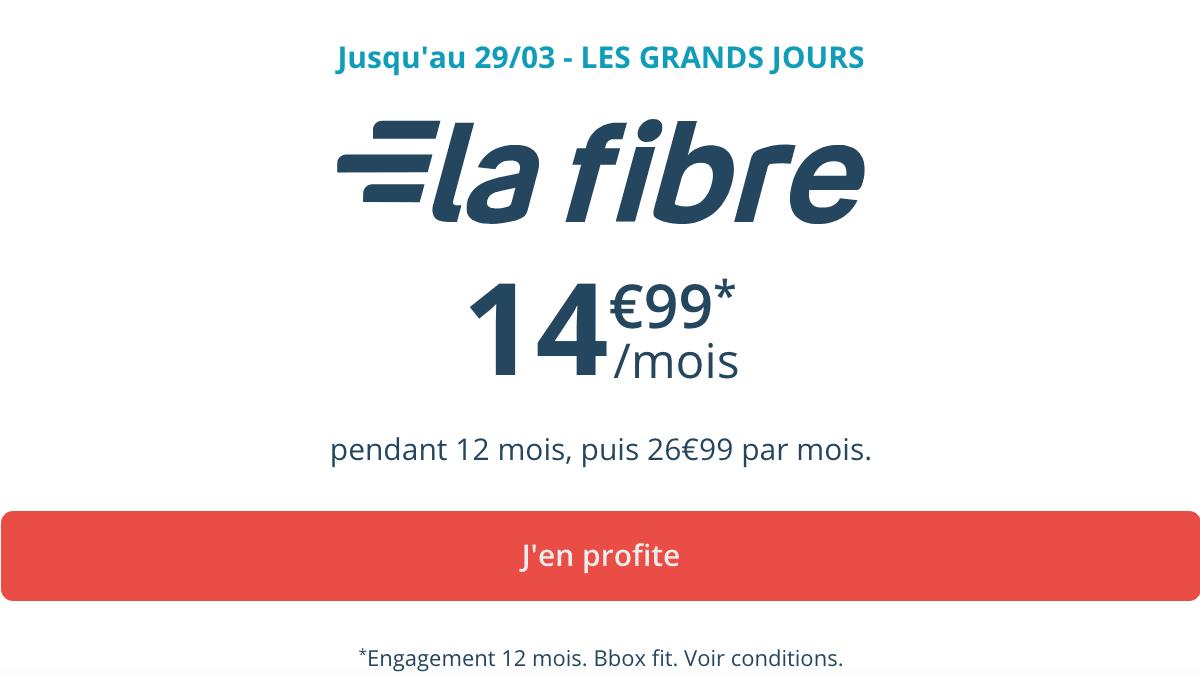 La box fibre Bouygues Telecom à 14,99€/mois