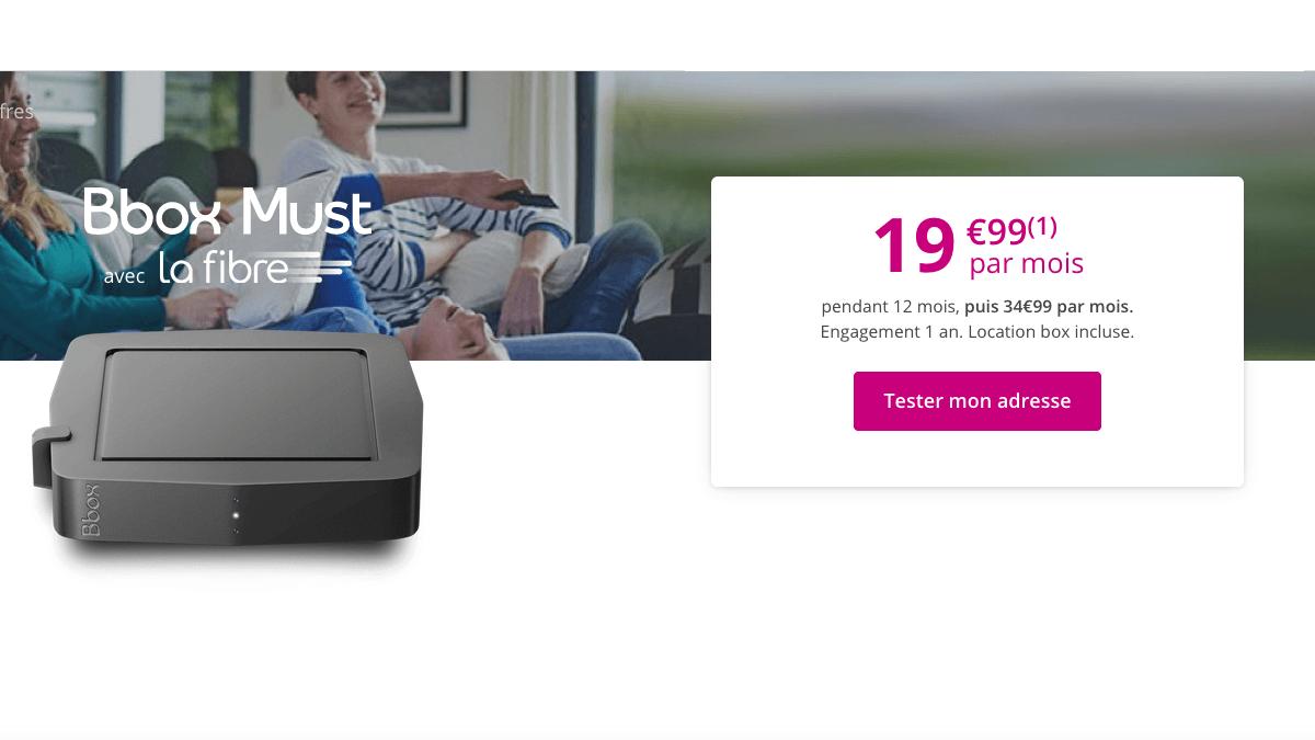 La box fibre Bbox Must de Bouygues Telecom est à 19,99€/mois