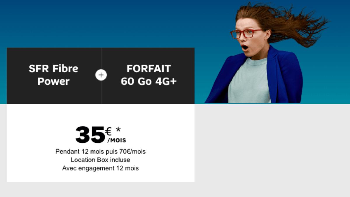 Offre groupée box fibre 1Gb et forfait mobile SFR