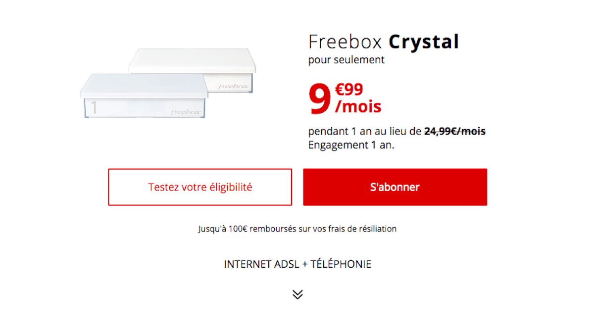 Promo sur la box internet ADSL Freebox Crystal