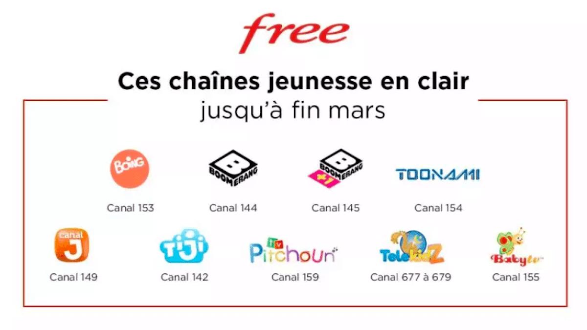 Chaînes TV gratuites Free