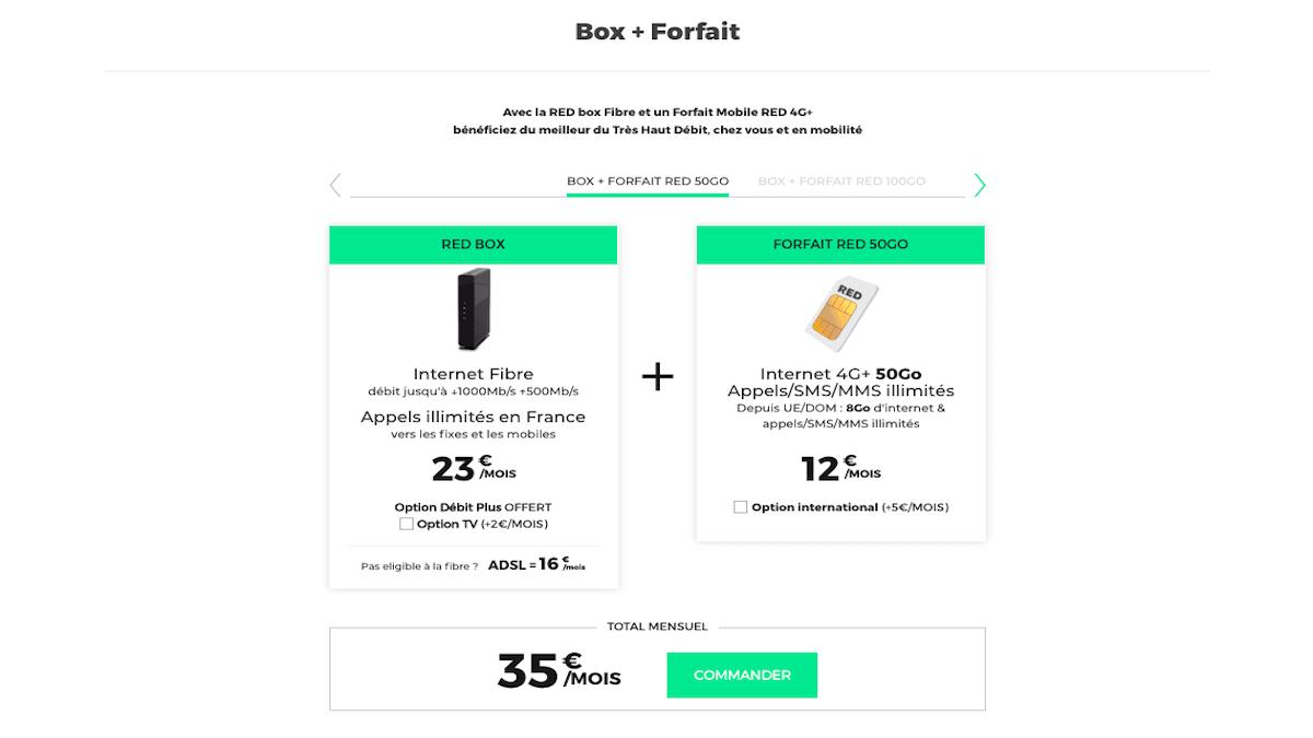 forfait mobile et box internet fibre RED