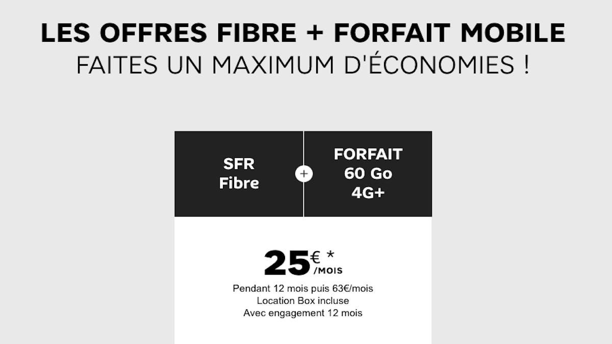 Pack box internet + forfait SFR à 25 euros