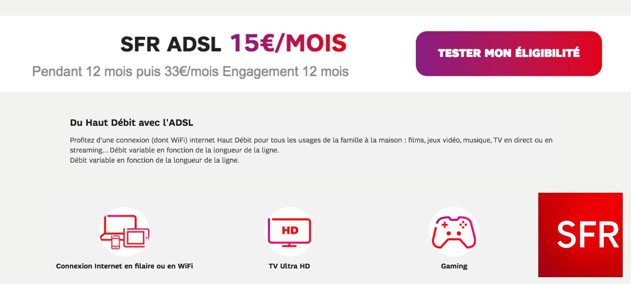 SFR ADSL box pas chère en promo