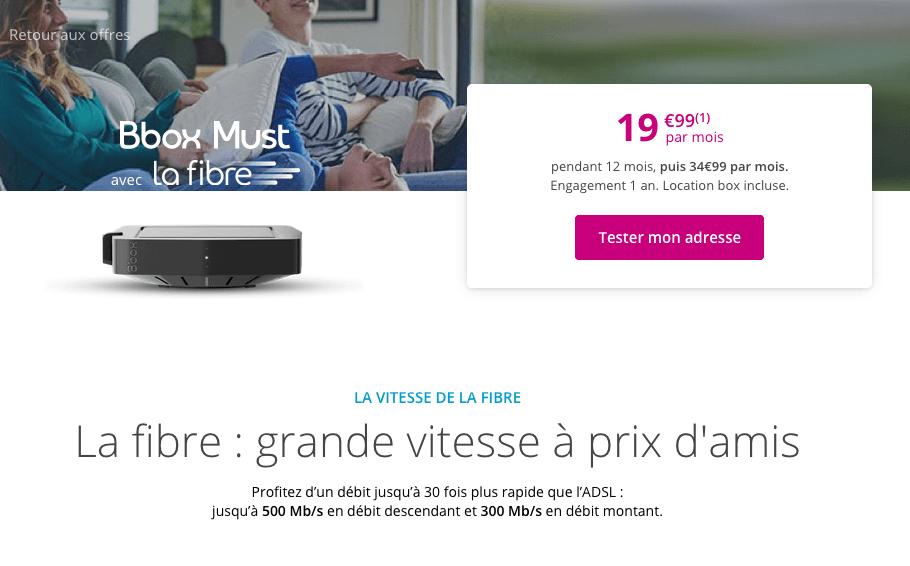 la Bbox Must est à 19,99€ par mois