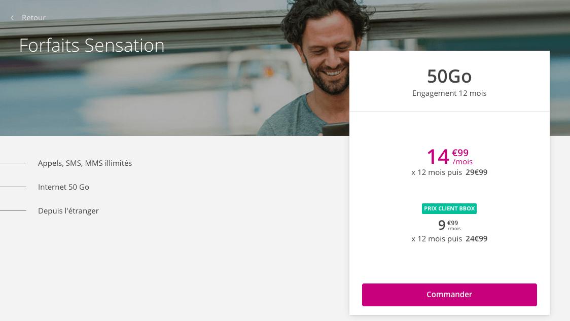 Le forfait Sensation 50 Go à 9,99€