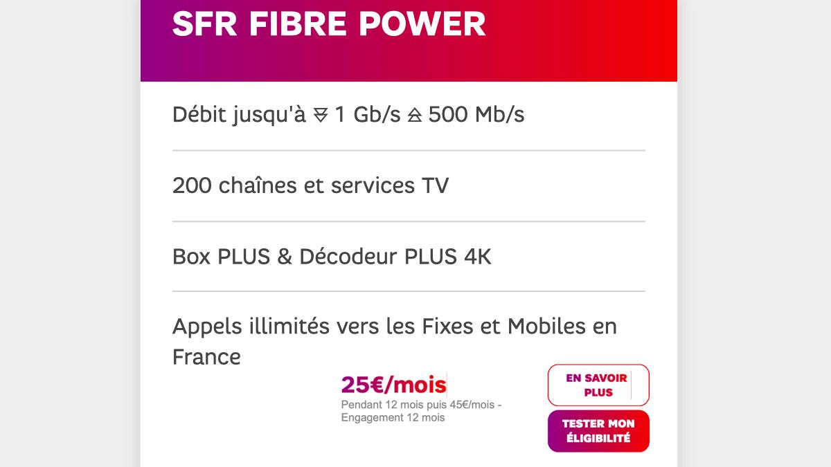 La box internet fibre optique de SFR, c'est 1 Gb/s de débit descendant.