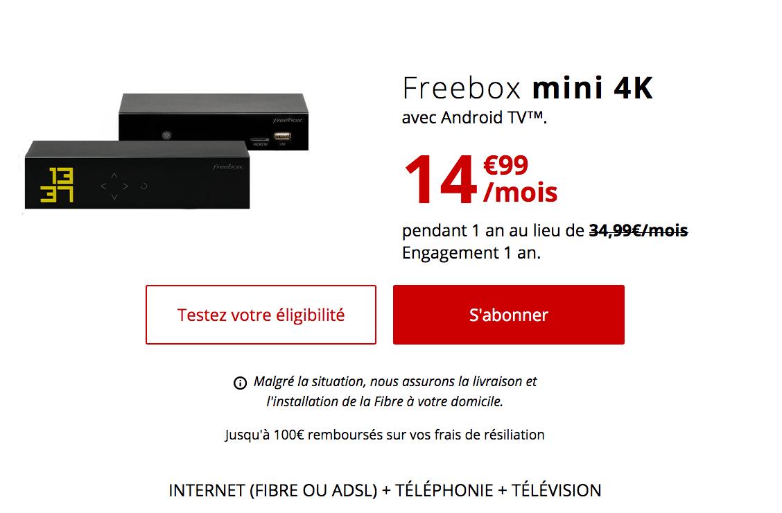 La Freebox mini 4K avec la fibre optique