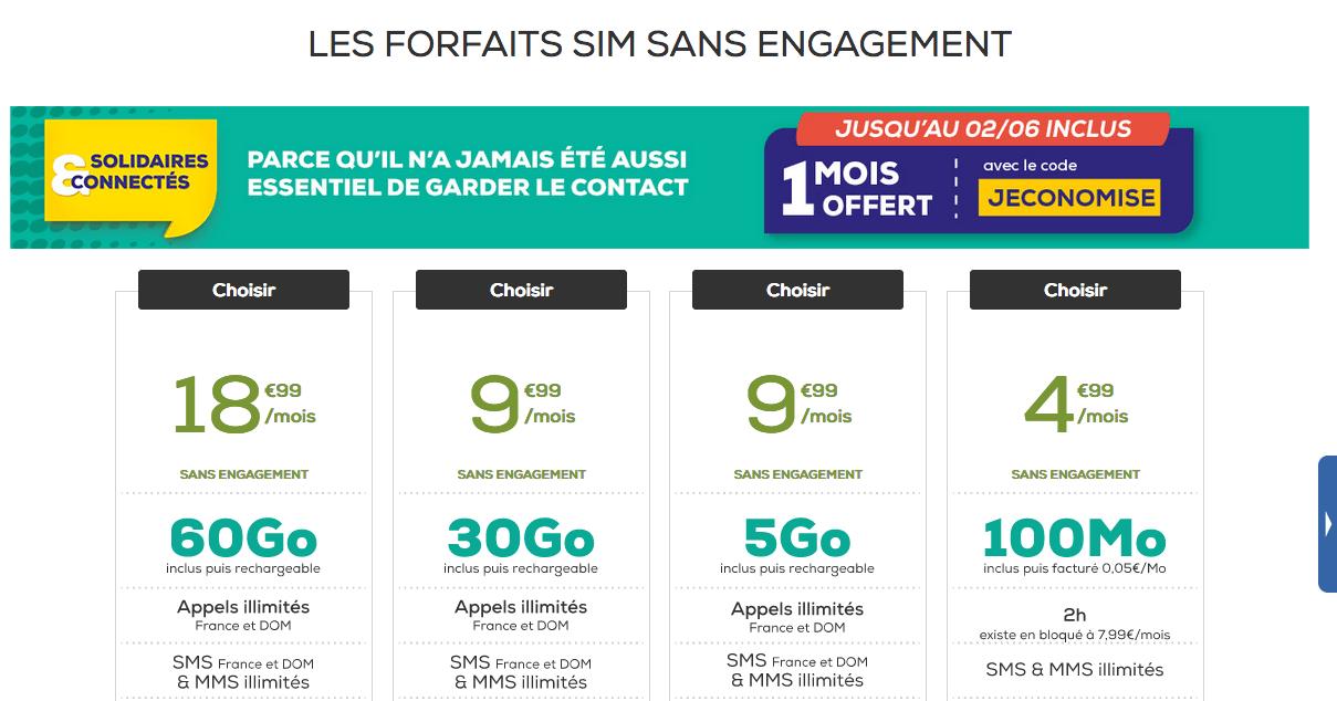 tous les forfaits SM de La Poste Mobile
