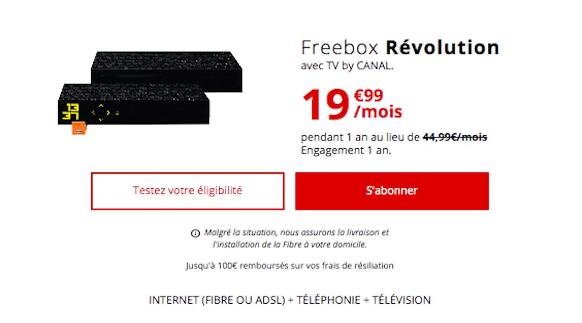 Promo box avec TV Freebox 19,99€