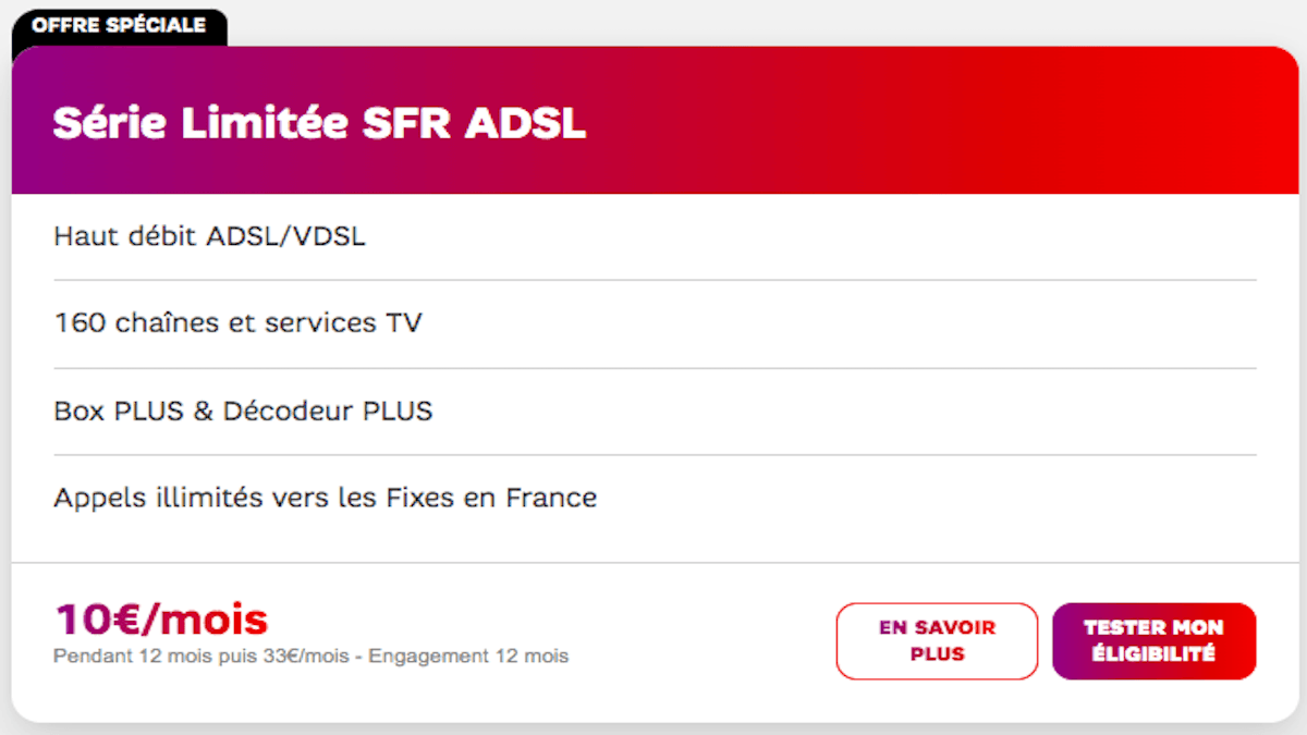 SFR Box promo Welcome Back ADSL 10€