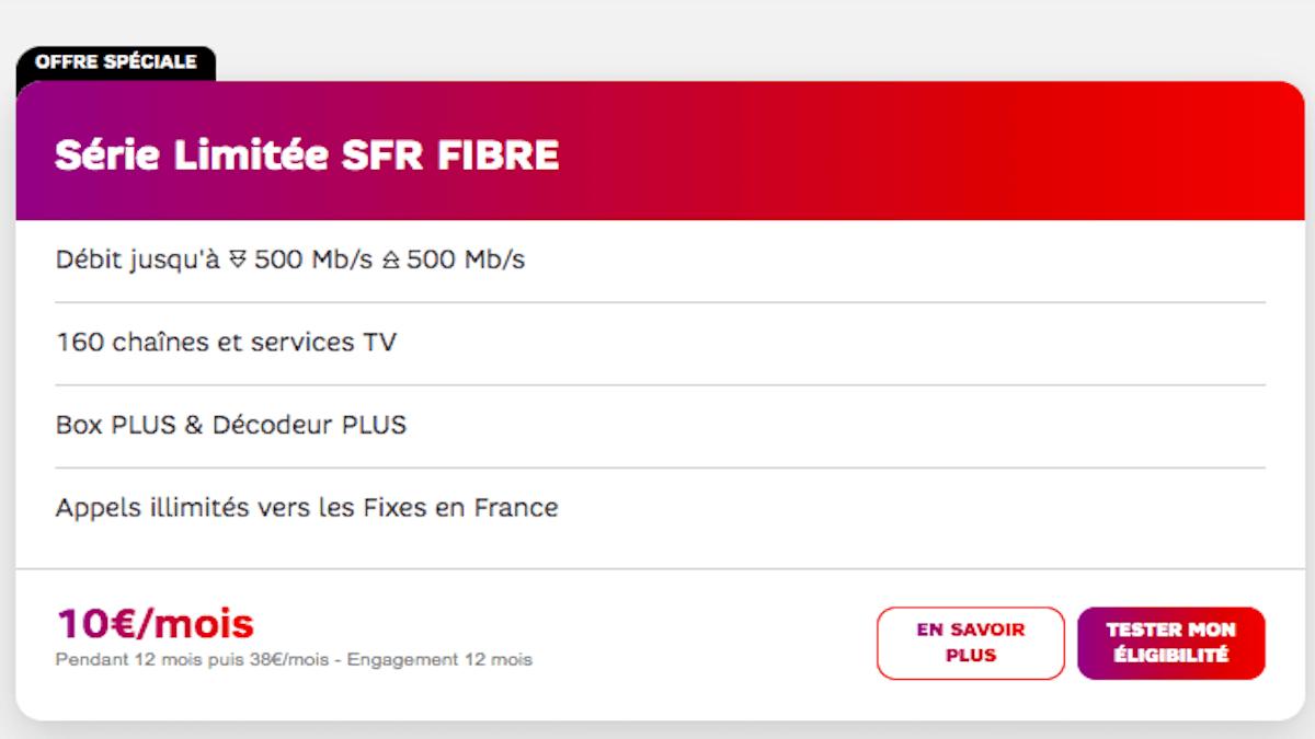 Promo SFR box fibre optique 1€0