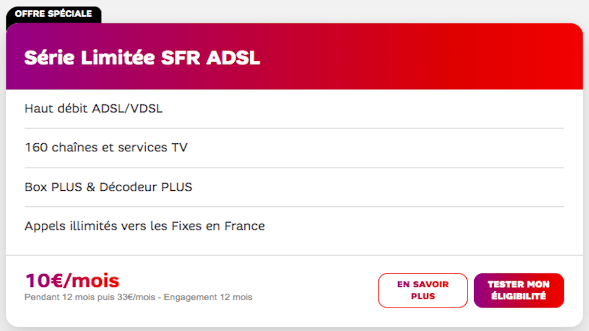 La série limitée Welcome Back de SFR version ADSL