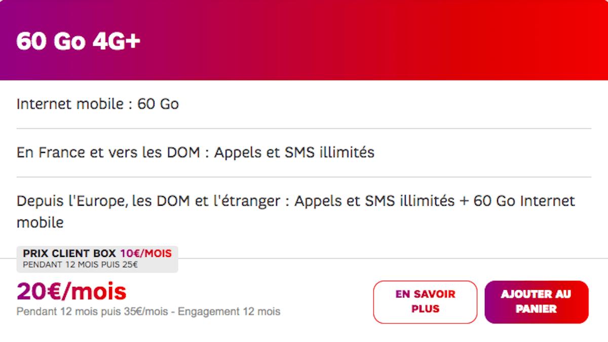 Forfait 60 Go 10€ client box SFR