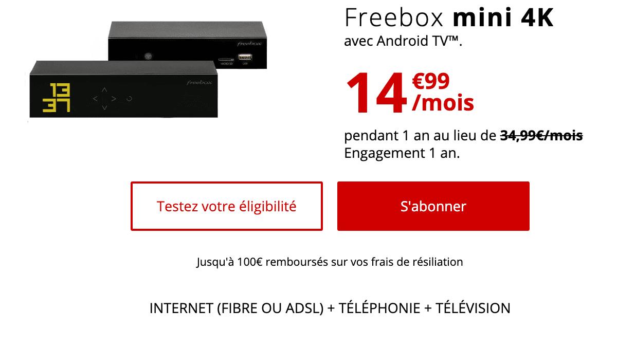 La Freebox Révolution proposée à 14,99€ par mois pendant un an.