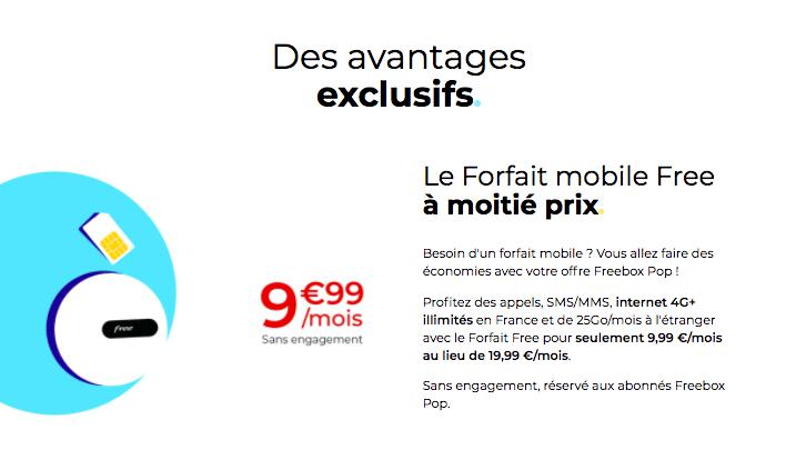 Le Forfait Free mobile à moitié prix avec la Freebox Pop