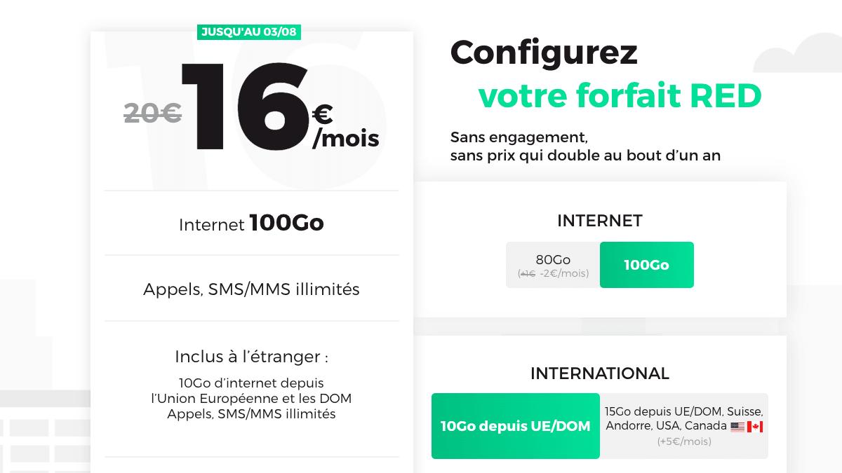 Le forfait RED 100 Go à partir de 16€ par mois sans les options.