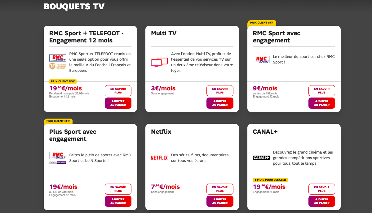 Box fibre SFR options TV