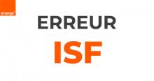 Code erreur Orange ISF