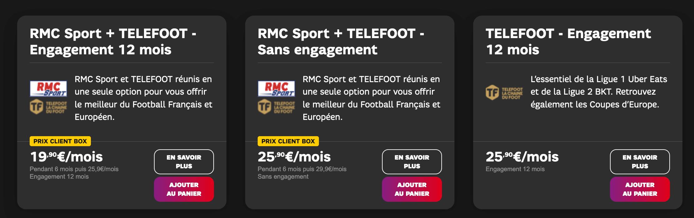 Abonnements Telefoot SFR